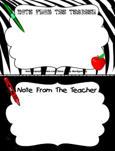 A Note From the Teacher Follower Freebie